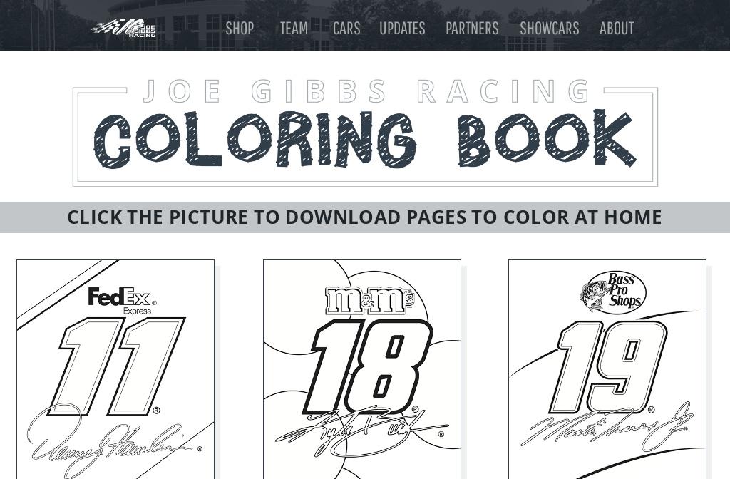 - Joe Gibbs Racing — Coloring Pages