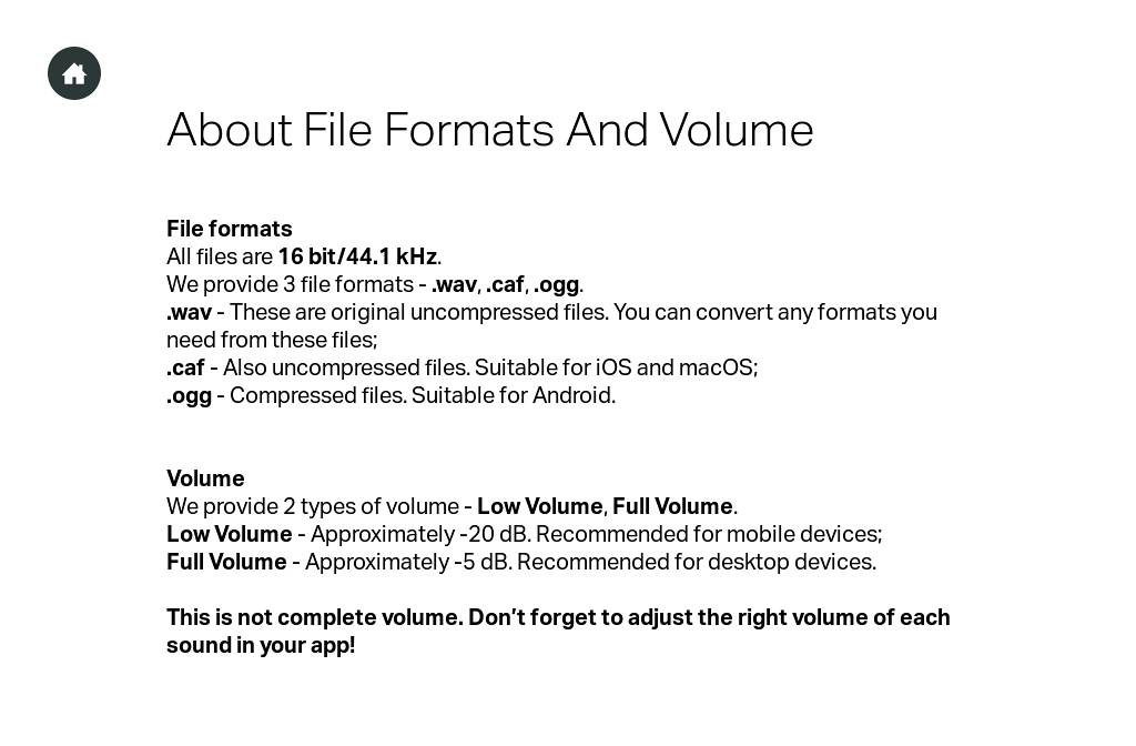Appsounds pro - Formats, Volumes