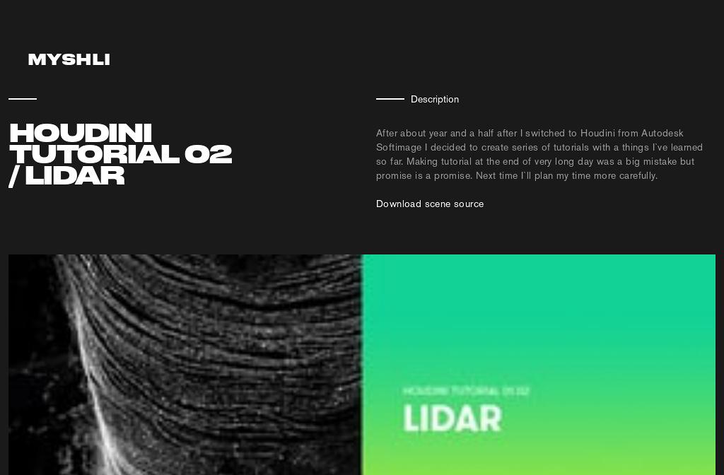 MYSHLI — Learn — Houdini Tutorial 02 / LIDAR