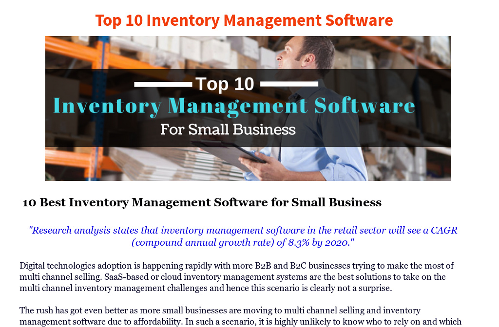 top 10 best inventory management software for small business by
