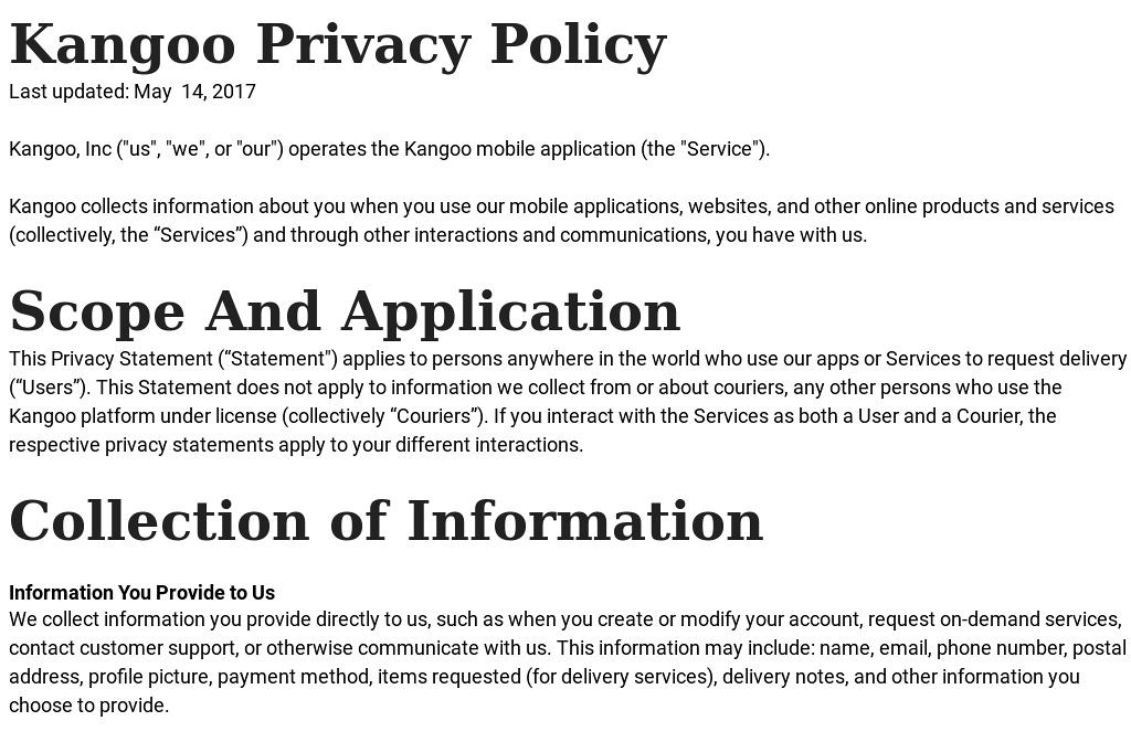 Kangoo  Privacy