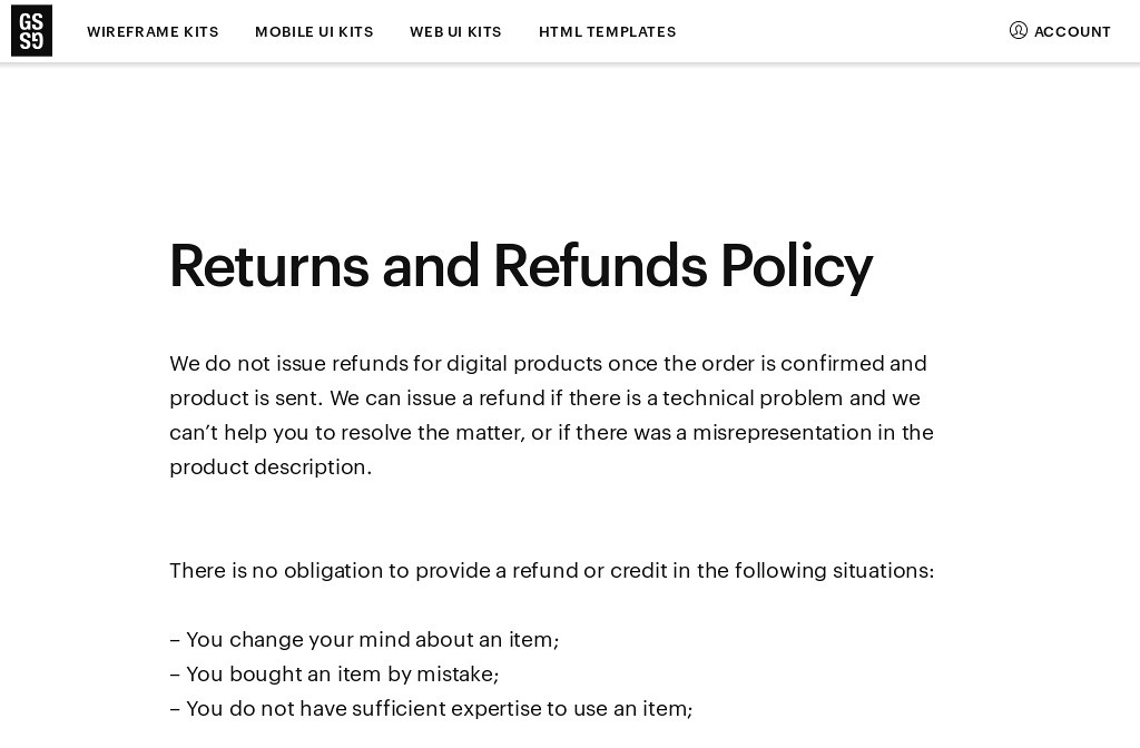 Great Simple Studio  Useful Tools For Designers  Refunds Policy