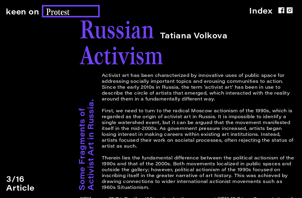 Russian Activism by Tatiana Volkova for keen on magazine