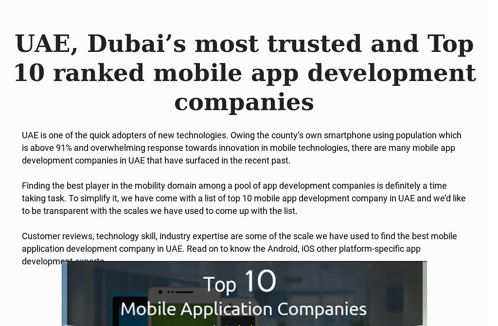 Top Trusted 10 mobile app development companies in UAE,Dubai
