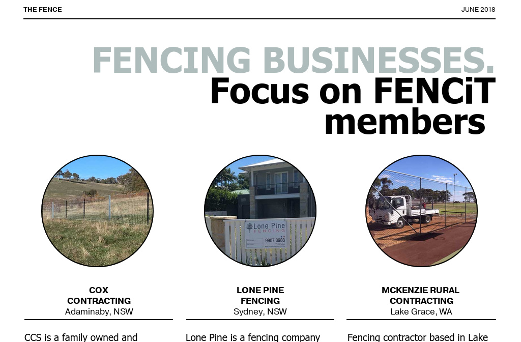 The Fence - June 2018 — Featured Fencing Contractors