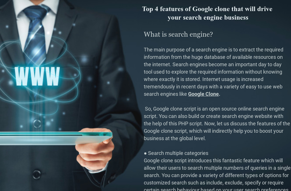 Top 4 features of Google clone that will drive your search engine