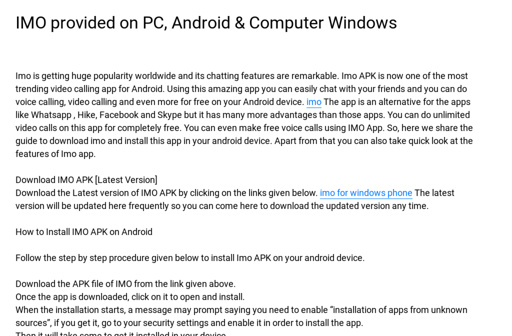 IMO provided on PC, Android & Computer Windows