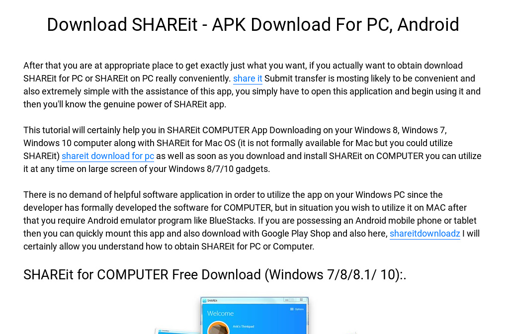 shareit app for pc download windows 7