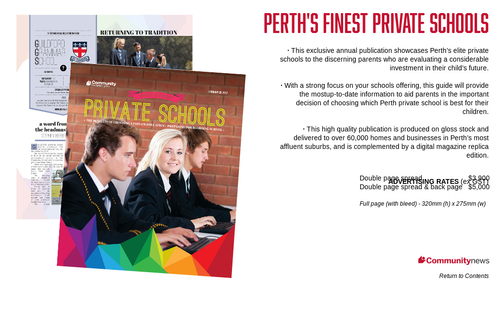 'Perth's Finest Private Schools' from 'CNG Media Planner 2017-18' by  Community Newspaper Group | Readymag