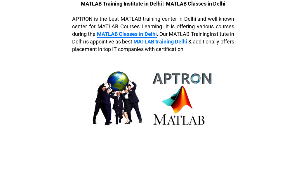 Matlab Training Institute In Delhi Matlab Classes In Delhi By