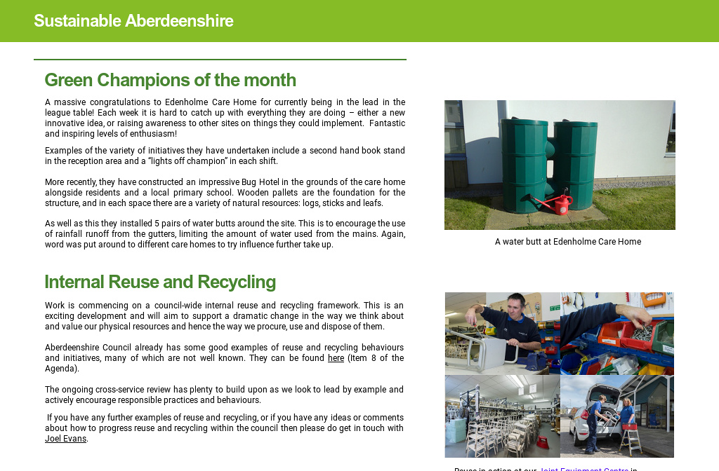 Sustainable Aberdeenshire - July 18