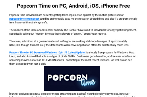 Popcorn Time on PC, Android, iOS, iPhone Free