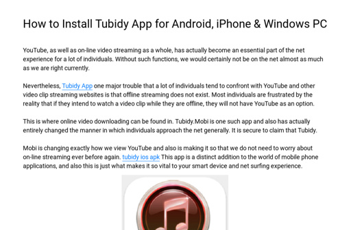 How to Install Tubidy App for Android, iPhone & Windows PC