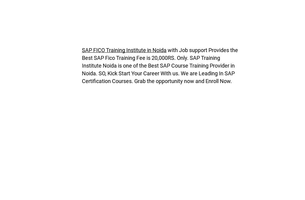 Sap Fico Training Course