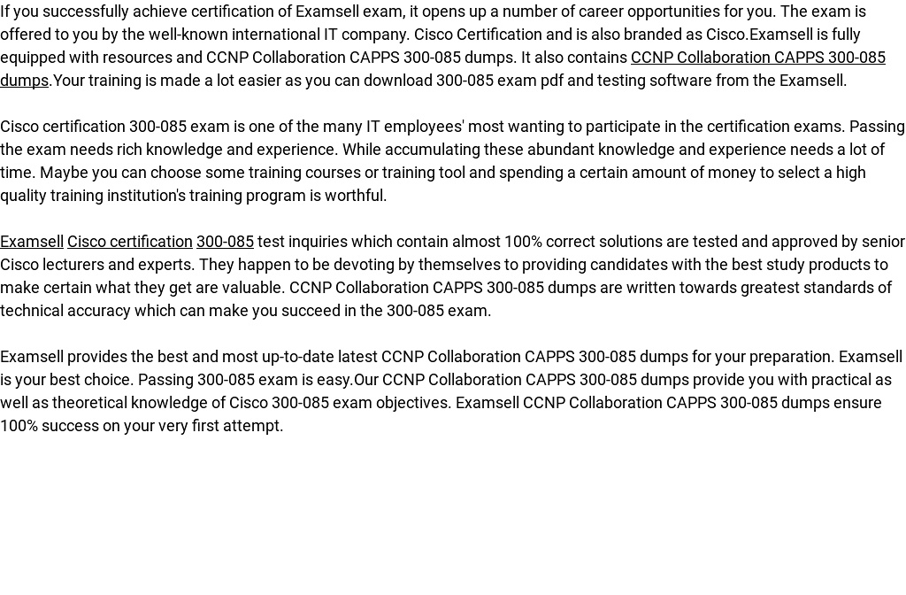Ccnp Collaboration Capps 300 085 Dumps By Examsell Readymag