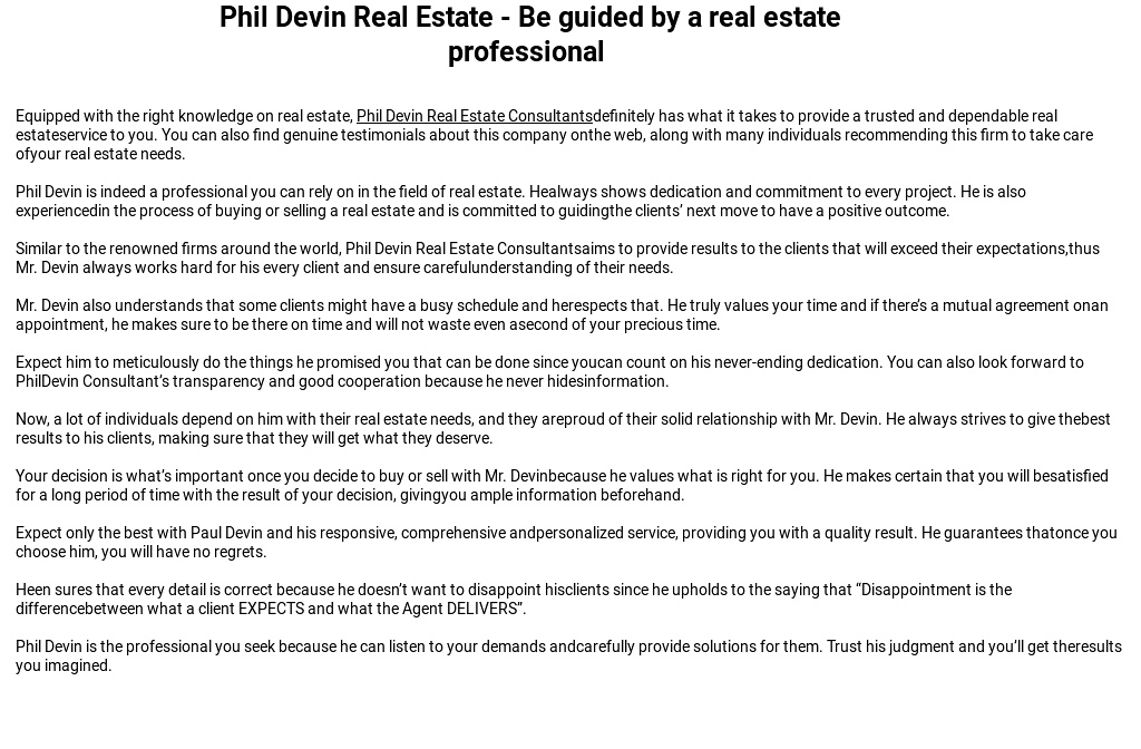 Phil Devin Real Estate - Be guided by a real estate professional