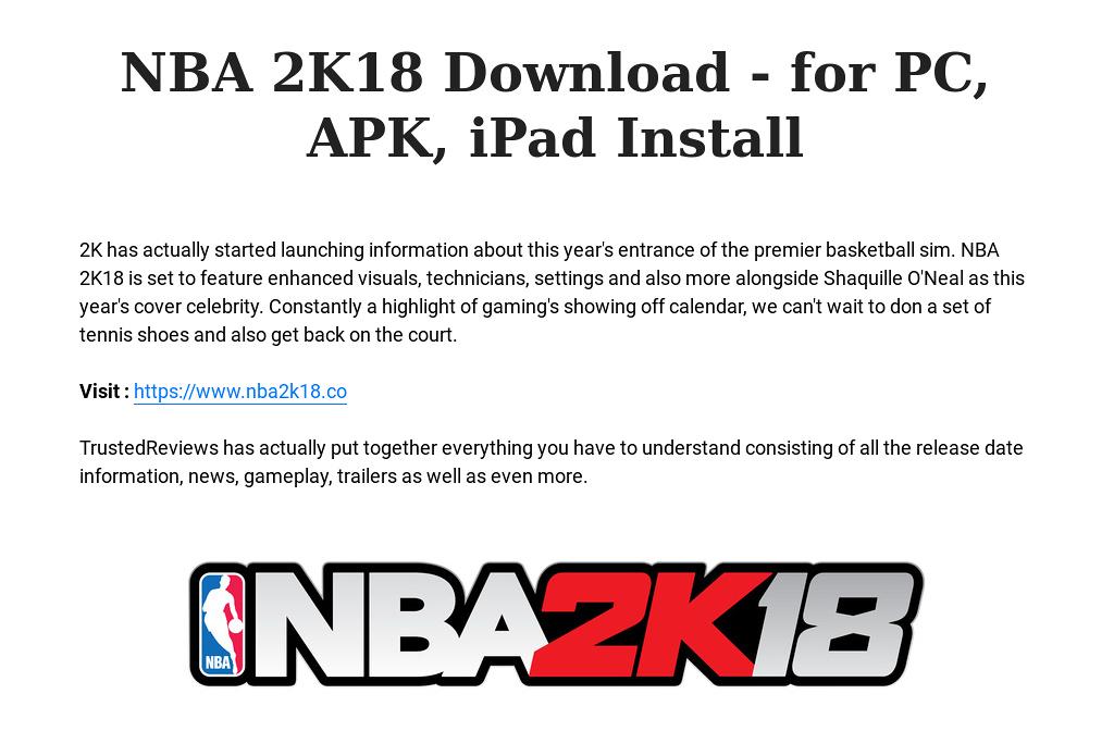 NBA 2K18 Download - for PC, APK, iPad Install