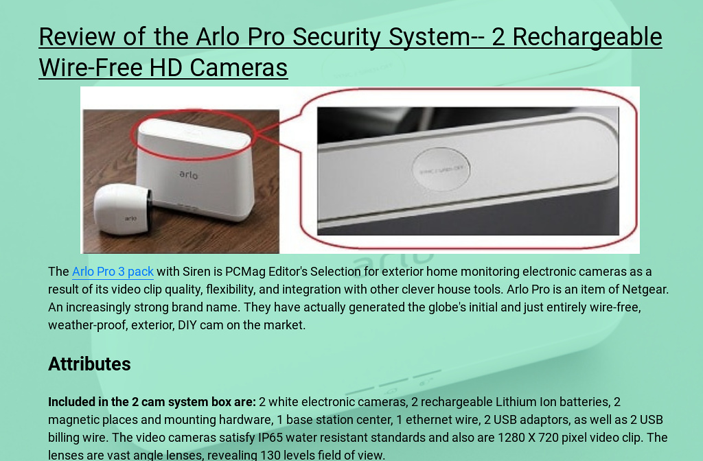 Review of the Arlo Pro Security System-- 2 Rechargeable Wire-Free HD ...