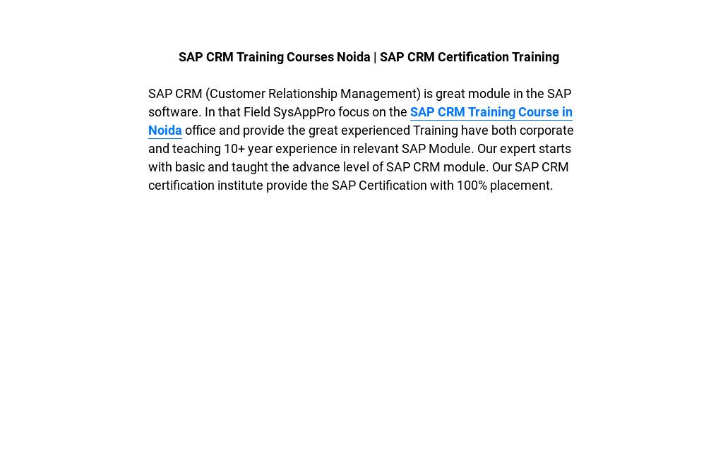 Sap Crm Training Courses Noida Sap Crm Certification Training By