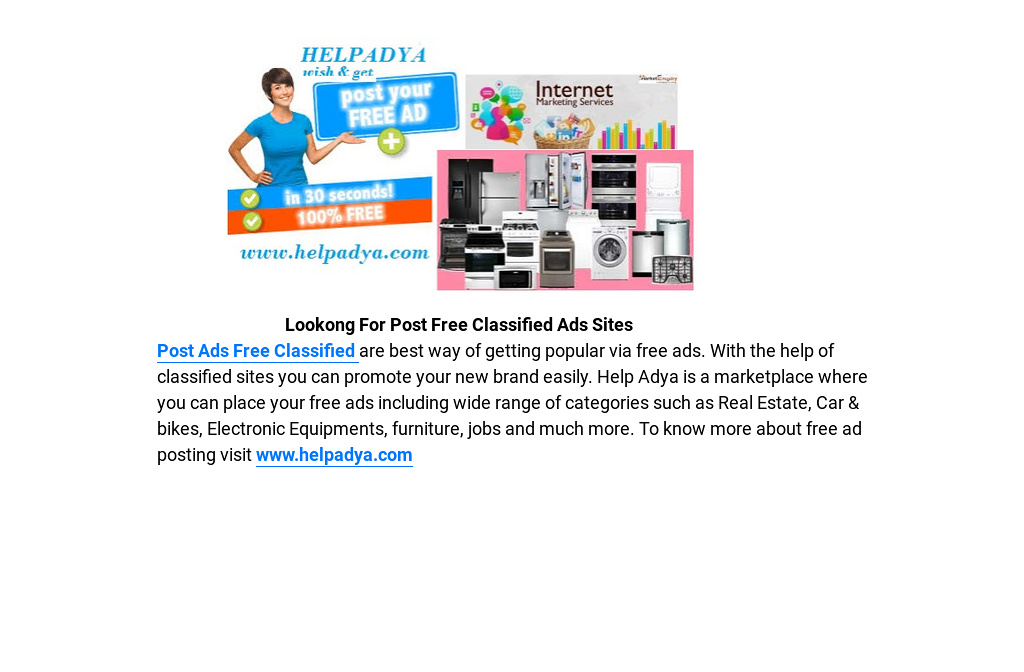 Lookong For Post Free Classified Ads Sites
