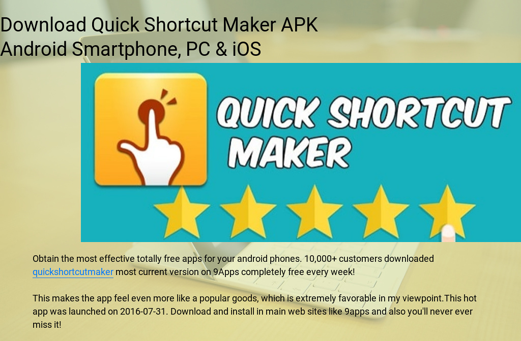 Download Quick Shortcut Maker Apk Android Smartphone Pc Ios