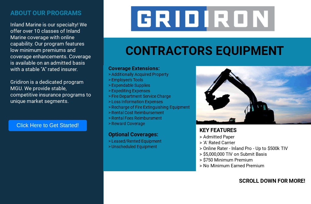 Gridiron Landing Page