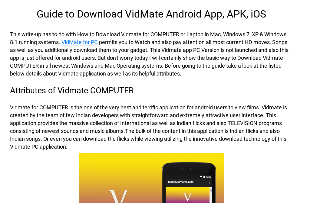 Guide to Download VidMate Android App, APK, iOS