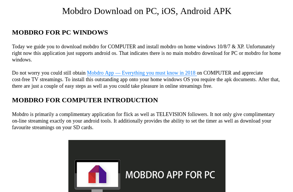 Mobdro Download on PC, iOS, Android APK