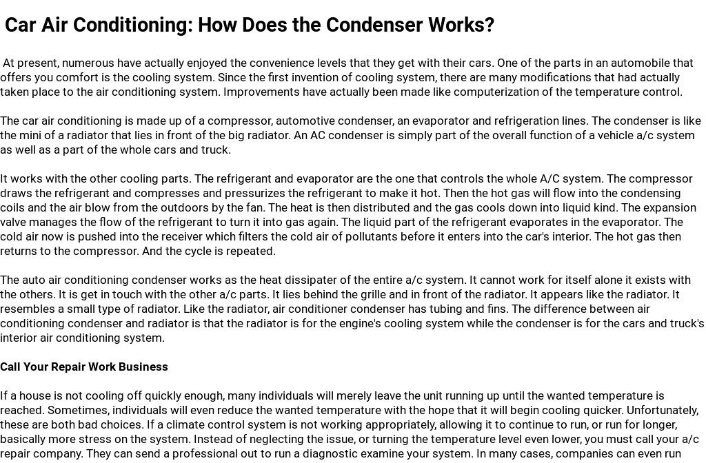Car Air Conditioning: How Does the Condenser Works?