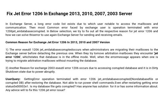 How to Fix Jet Error 1206 In Exchange 2013, 2010, 2007, 2003 Server