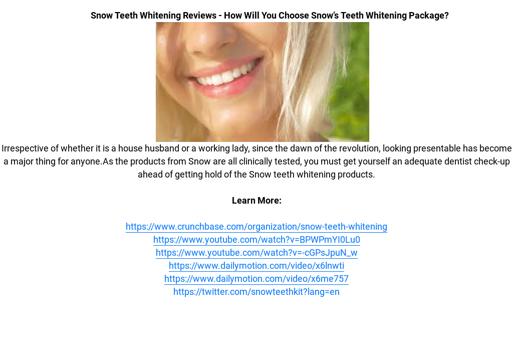 Free Offer  Snow Teeth Whitening Kit