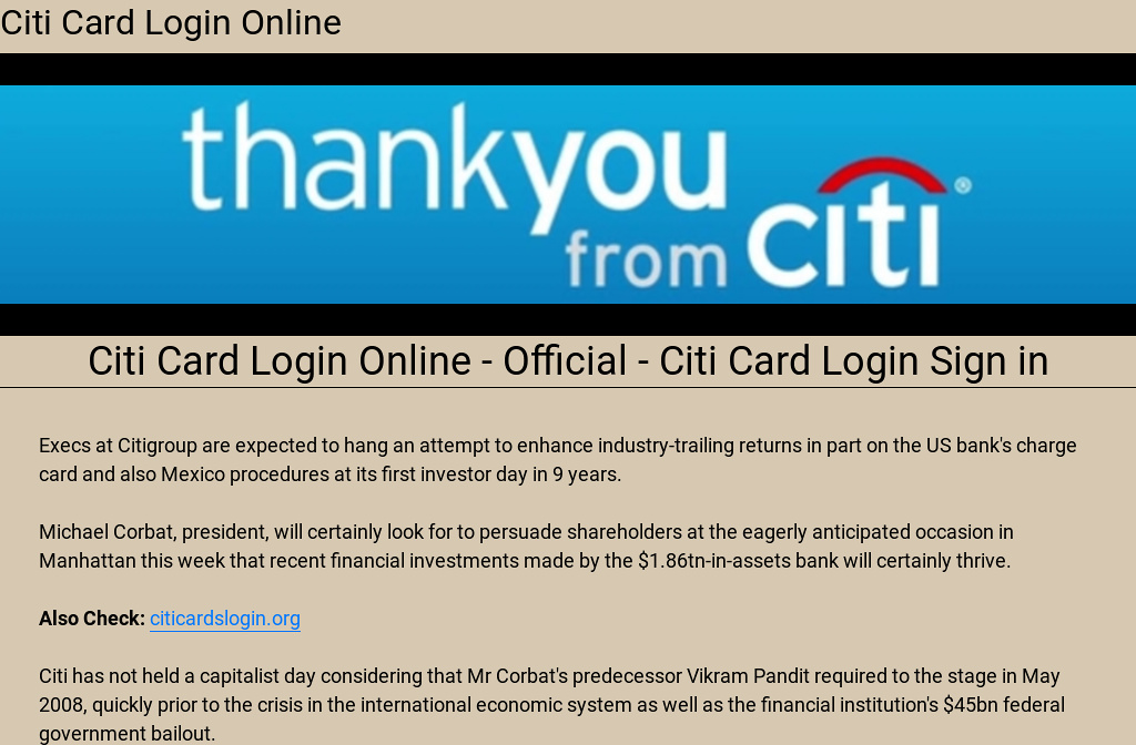Citibank Online Sign In >> Citi Card Login Online