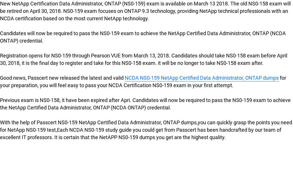 Netapp Certification Data Administrator Ontap Ns0 159 Exam