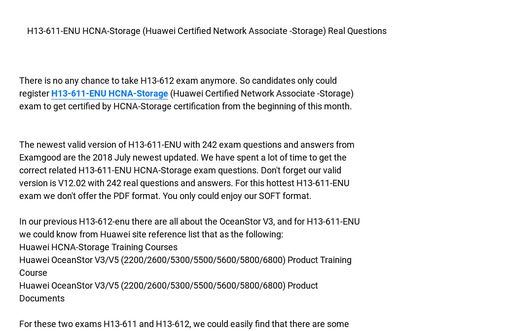 H13 611 Enu Hcna Storage With 242 Exam Questions And Answers