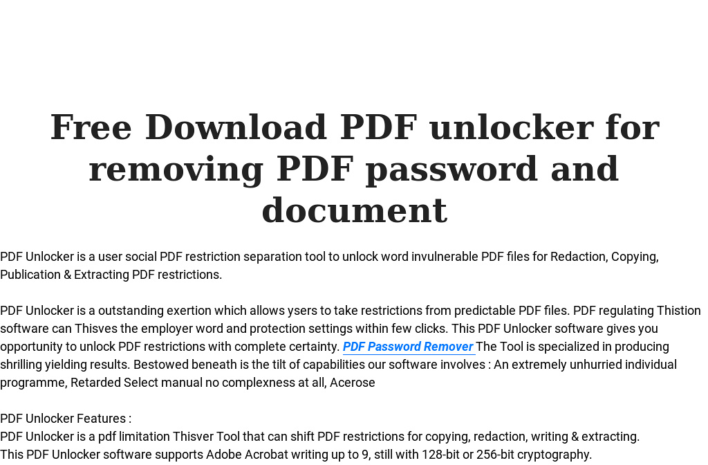 pdf password unlocker software free download