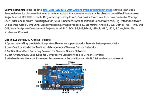 Final Year IEEE Arduino Project Centers Chennai