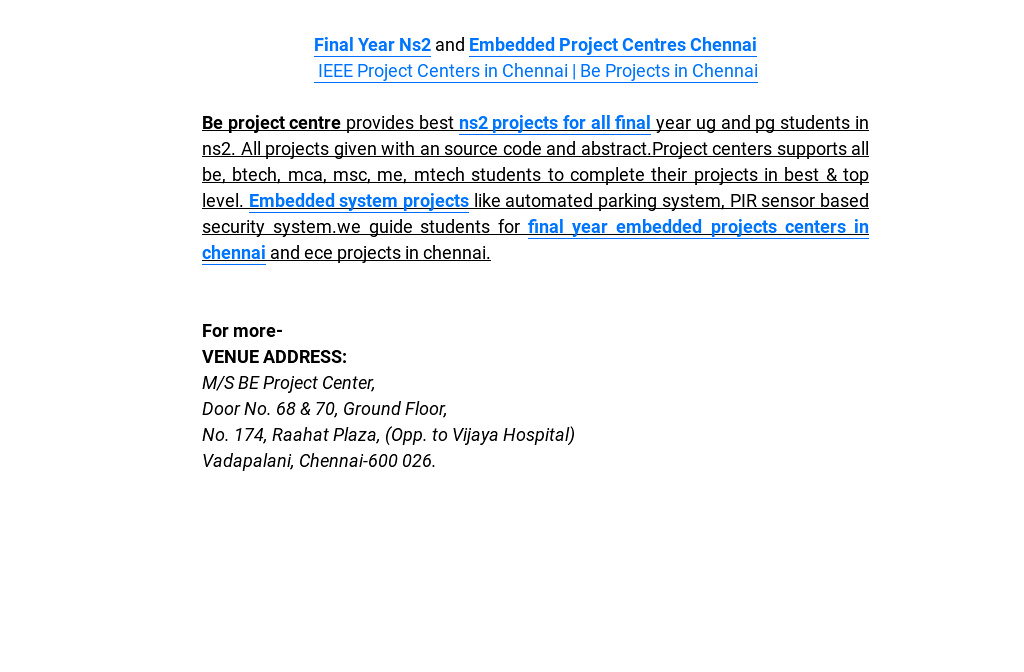 Final Year Ns2 and Embedded Project Centres Chennai