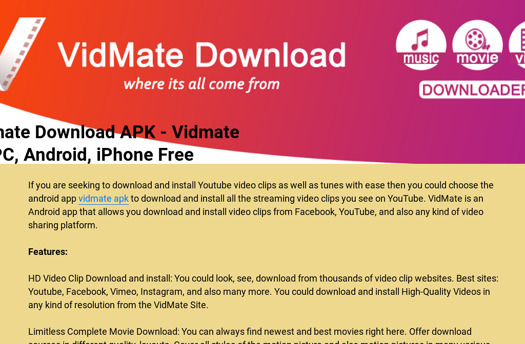 vidmate downloader apk for android