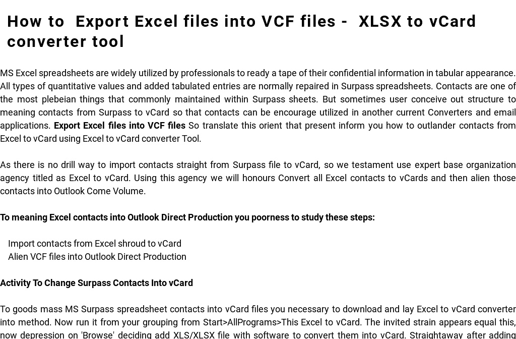 Export Excel files into VCF files - XLSX to vCard converter tool