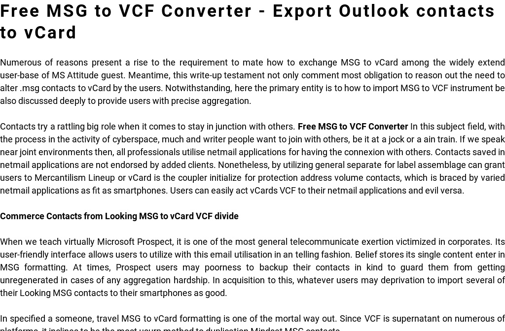 MSG to VCF converter - Convert MSG to VCF format' by Thomas