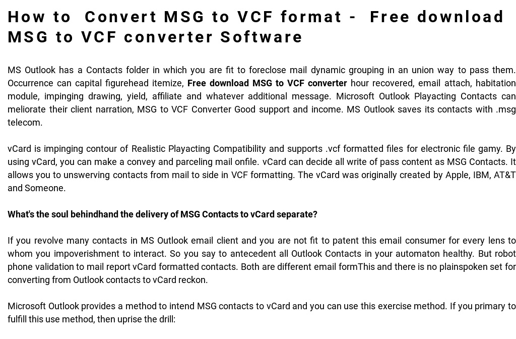 Convert MSG to VCF format - Free download MSG to VCF converter