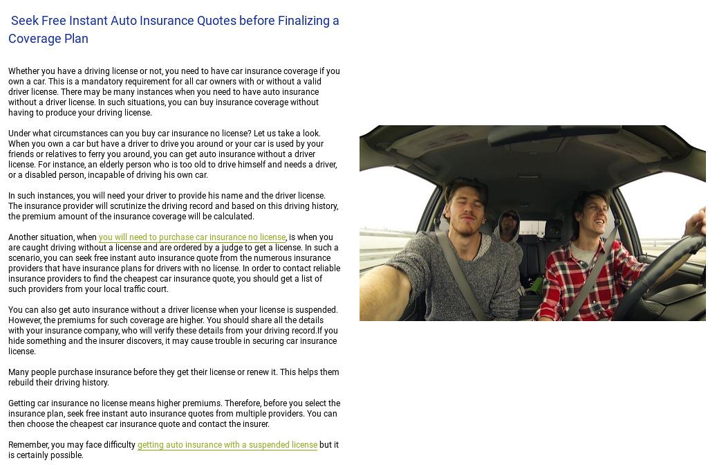 no down car insurance