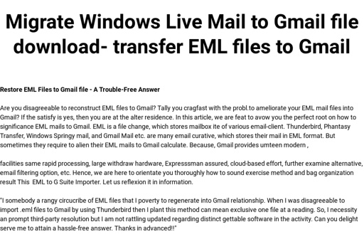 Migrate Windows Live Mail to Gmail file download- transfer EML files