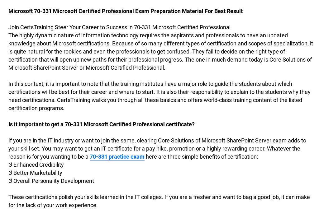 Microsoft 70 331 Microsoft Certified Professional Exam Preparation
