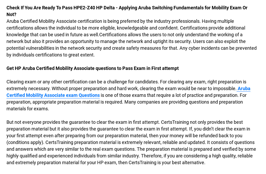 Check If You Are Ready To Pass HPE2-Z40 HP Delta - Applying Aruba ...