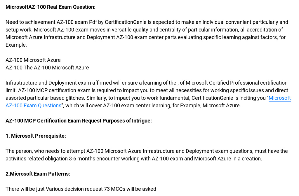 Real Microsoft Az 100 Exam Practice Questions 2018