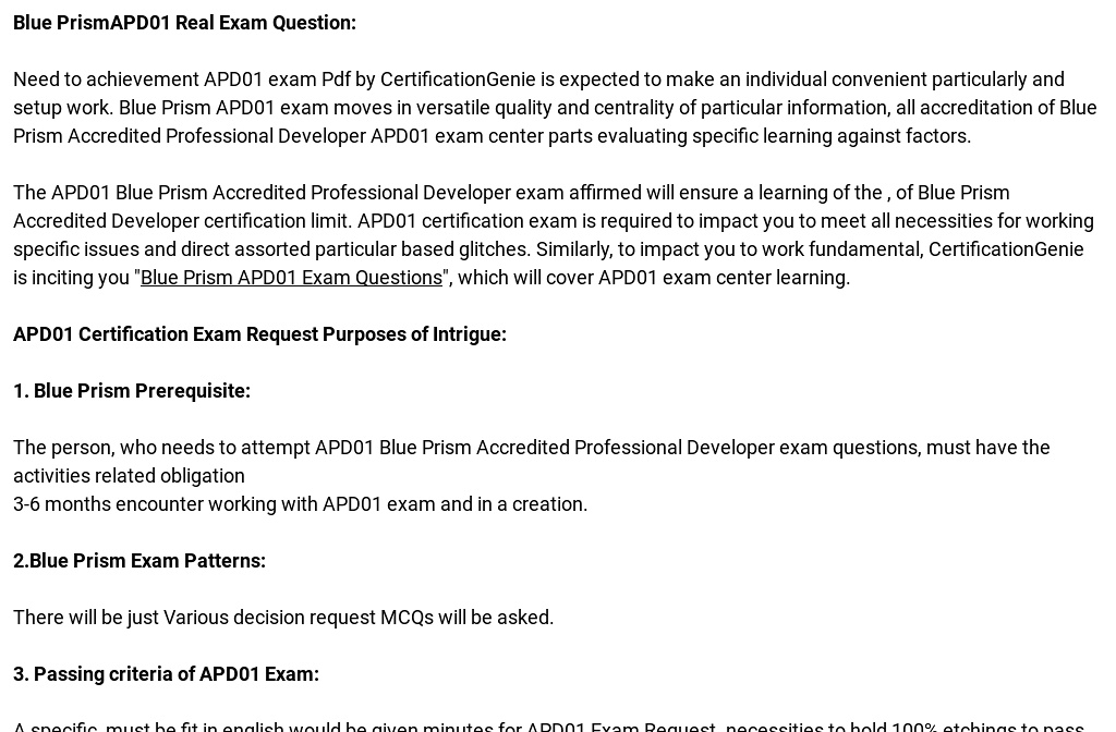 Get Updated Blue Prism Apd01 Exam Preparation Questions