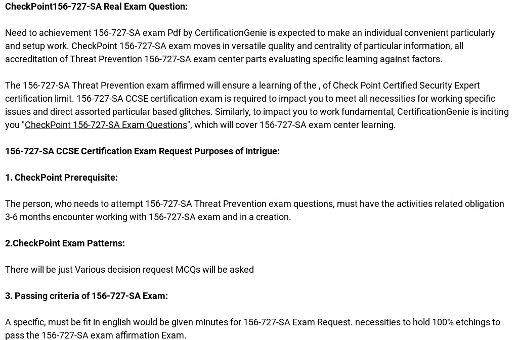 Get Updated CheckPoint CCSE 156-727-SA Exam Preparation