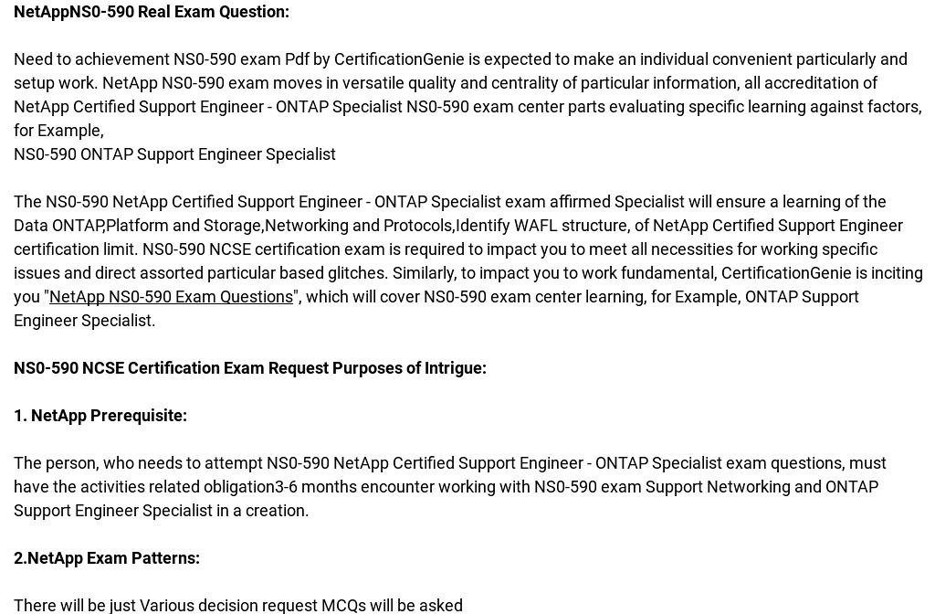 Netapp Ns0 590 Exam Questions Pass Exam In First Attempt
