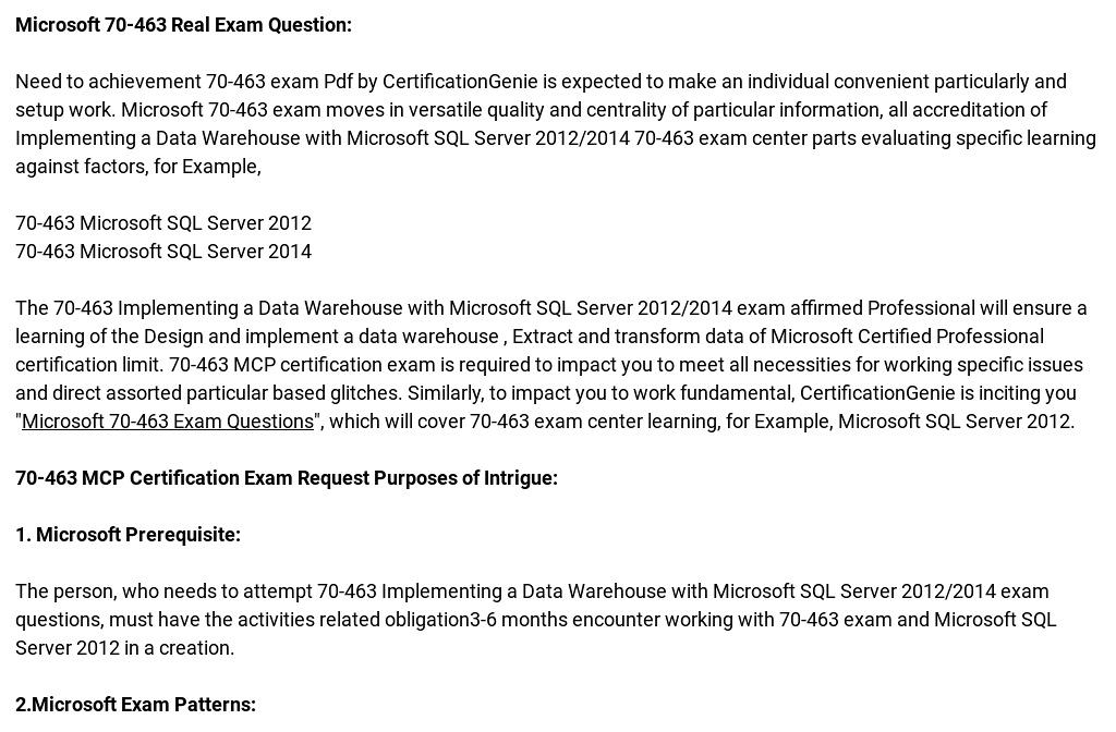 Microsoft 70 463 Exam Quality Preparation Material